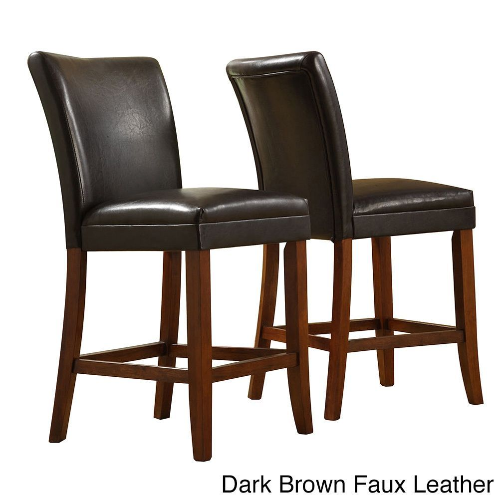 Tribecca home parson classic upholstered counter height chairs set of 2 dark brown faux leather cherry