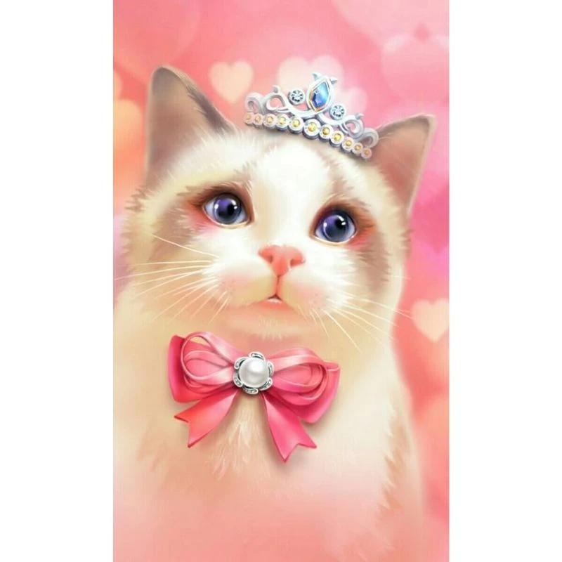 Pink Princess Kitty Diamond Painting Kit Kitten Cartoon Princess Kitty Cute Animal Drawings