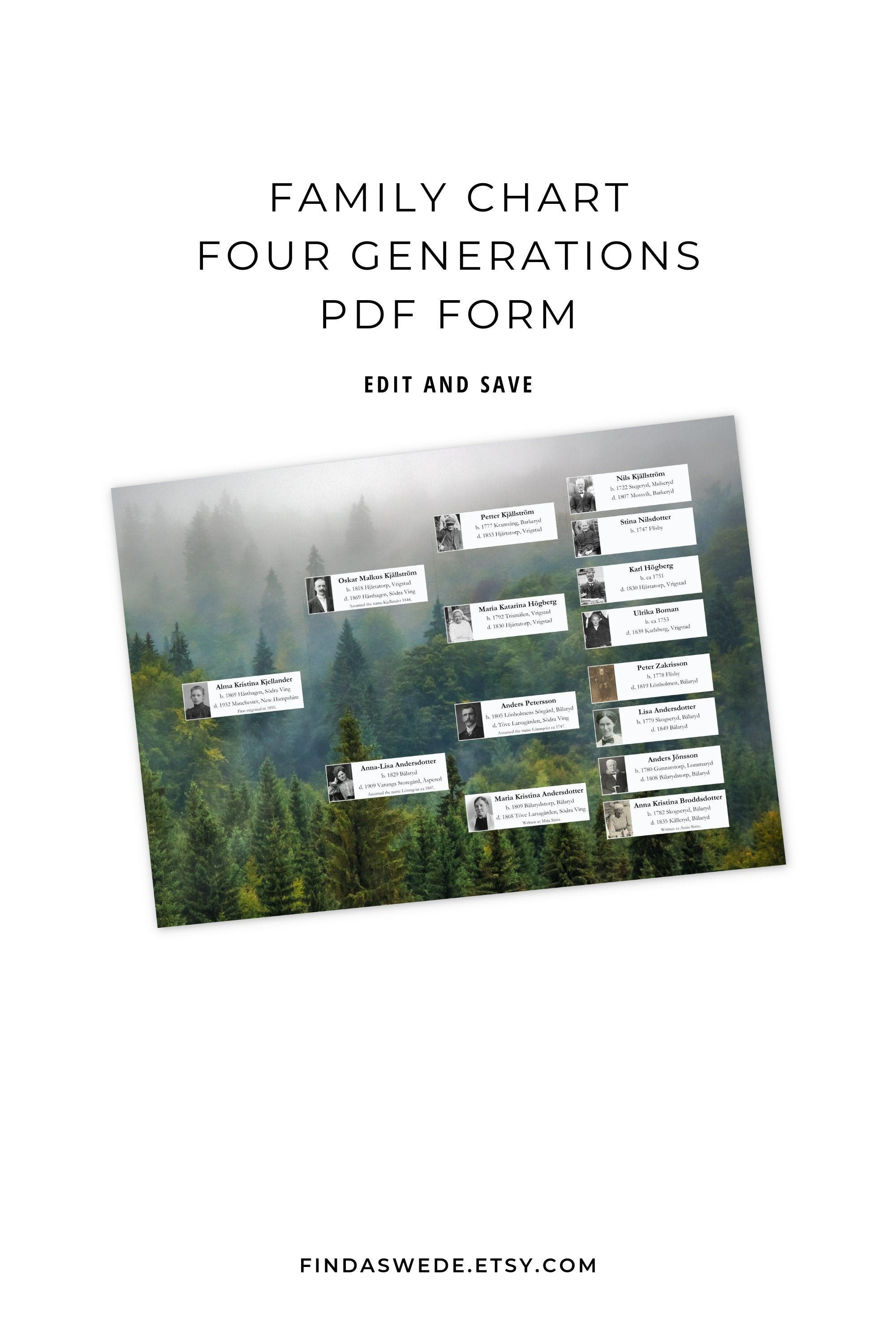 Family Tree Chart With Portraits For Ancestors Four