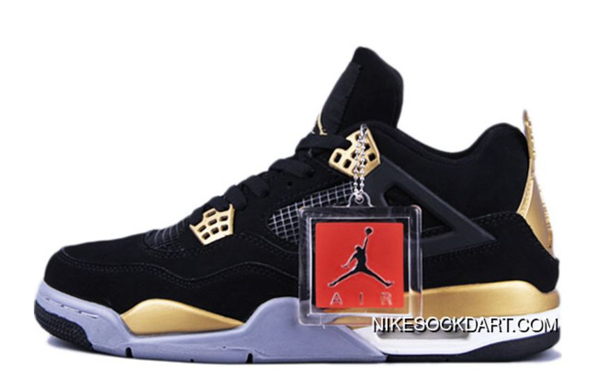 39d8143d164 Mens Air Jordan 4 Retro Ovo Black Nubuck-Gold Discount in 2019 ...