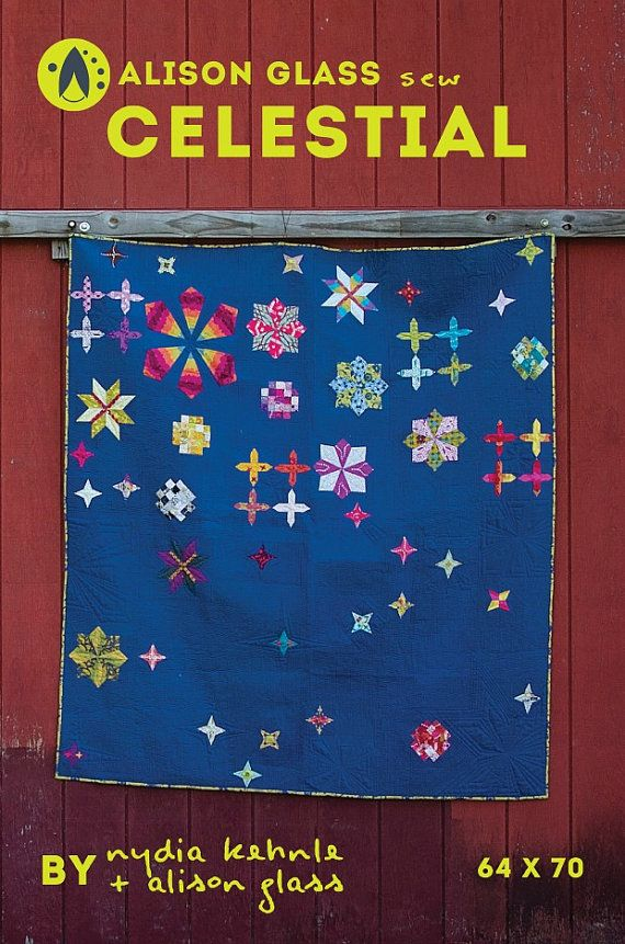 Celestial  Quilt Pattern  Alison Glass by surlysheep on Etsy (Craft Supplies & Tools, Patterns & Tutorials, quilt pattern, twin size, throw size, alison glass sew, andover fabrics, star quilt, nydia kehnle, blue background, scrap quilt pattern)
