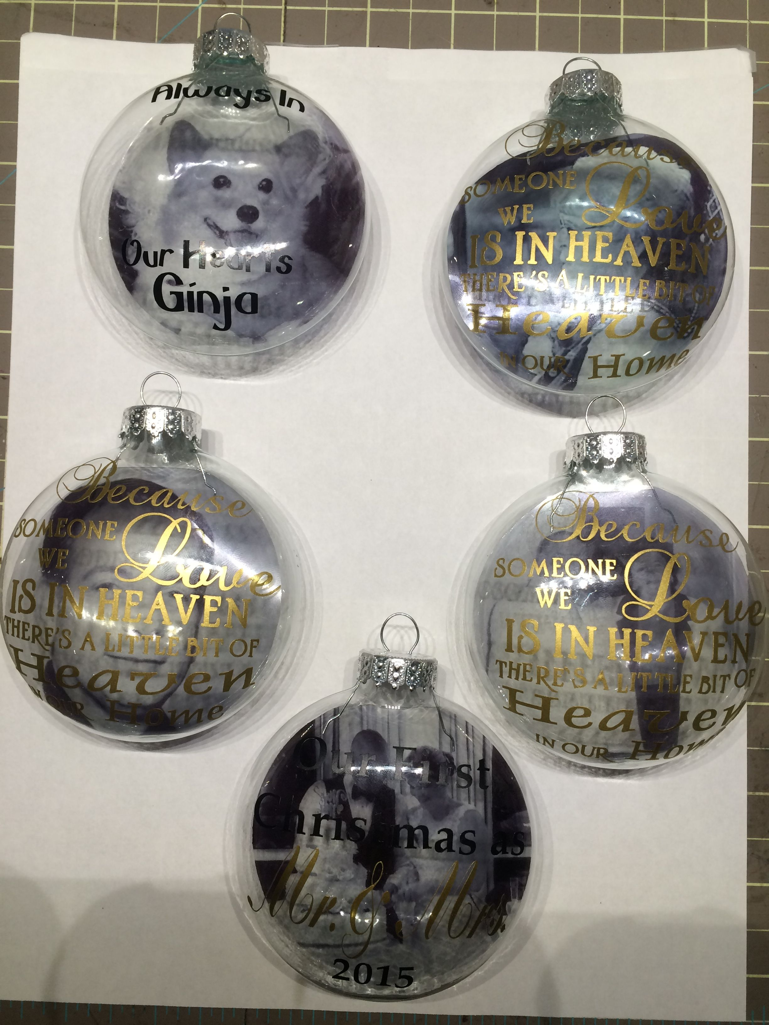 Memory Picture ornaments. Using vinyl and transparencies.