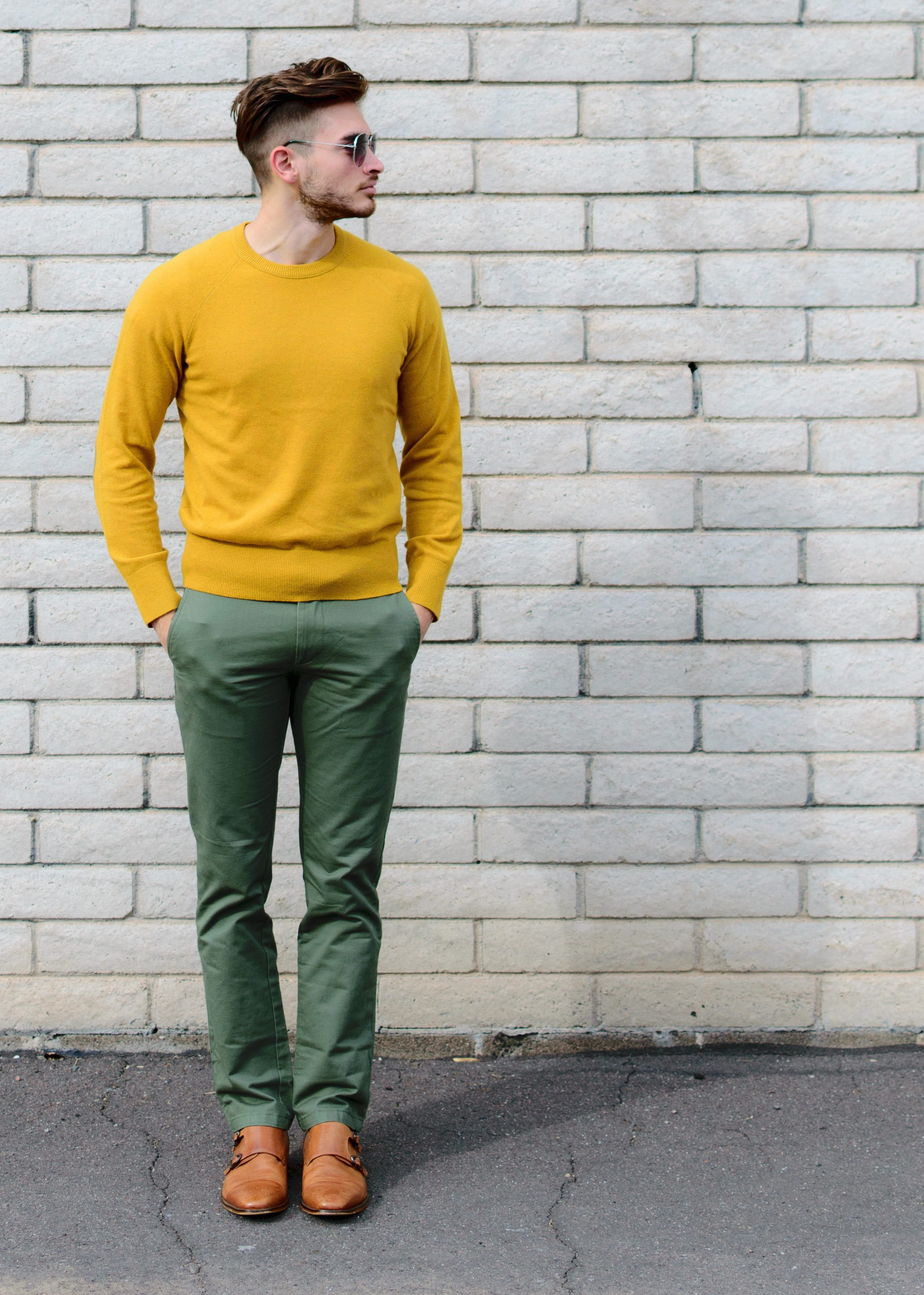 This mustard yellow and green combo is a great way to stand out ...