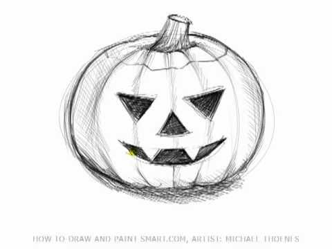 Drawing Lessons: How to Draw Halloween Pictures - A Pumpkin