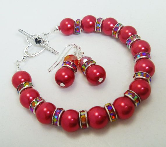 Red Pearls Bracelet and Earrings Valentines Day by Eienblue, $10.00