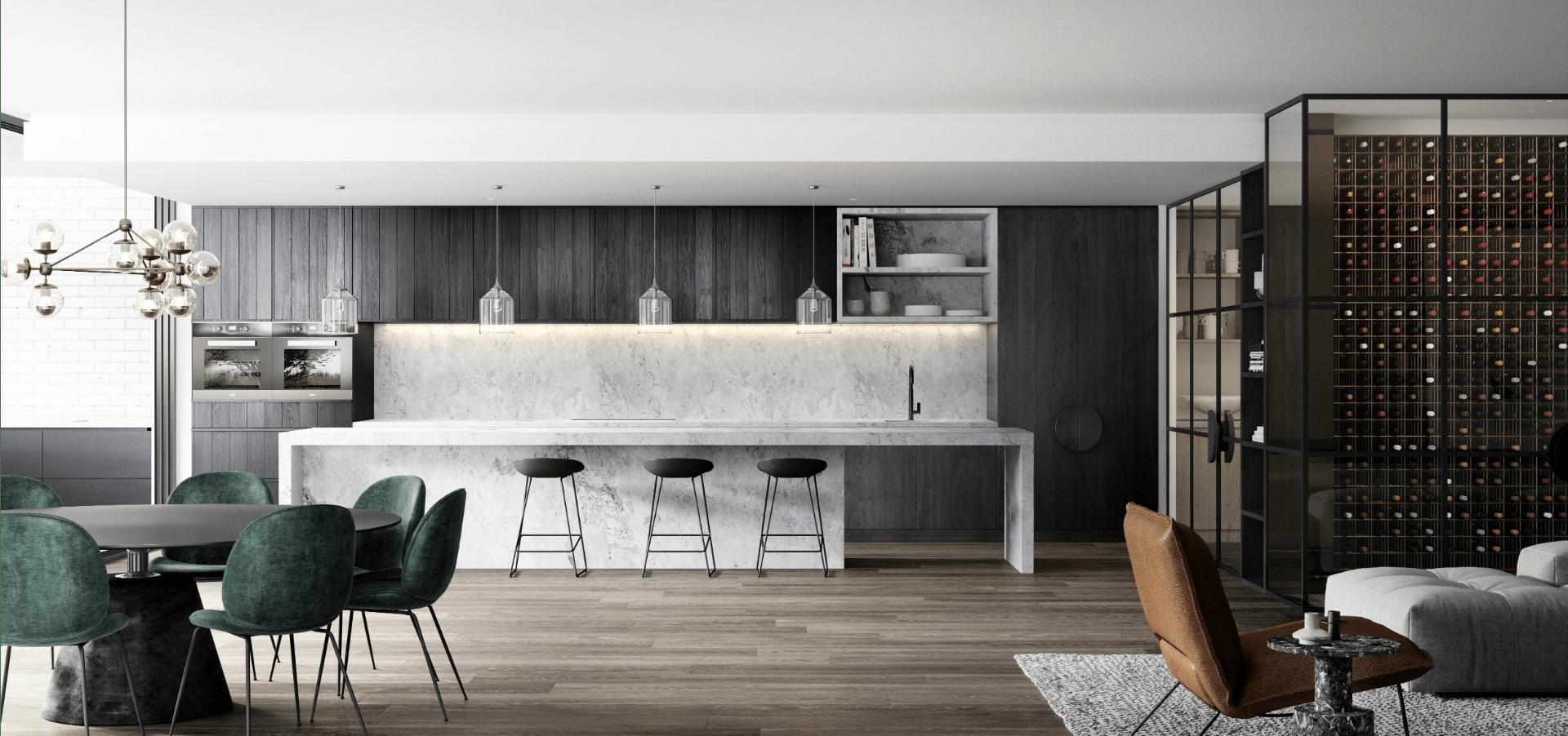 Luce Mckimm Elegant Kitchen Design Apartment Architecture Modern Kitchen Bar
