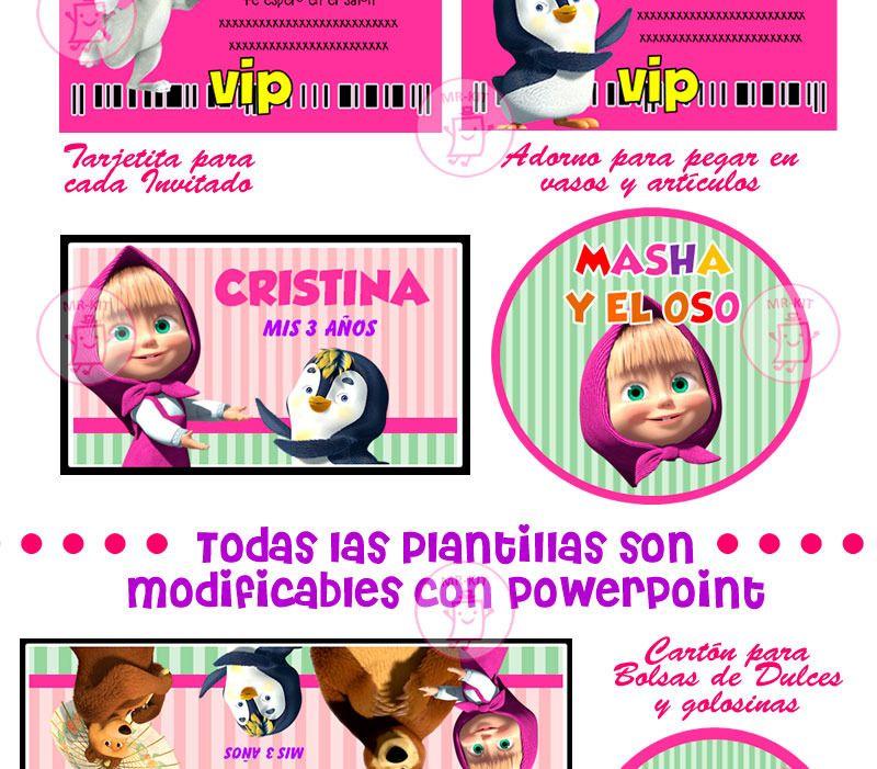 Kit Imprimible Masha Y El Oso, Cajitas Invitaciones, Fiesta a ...