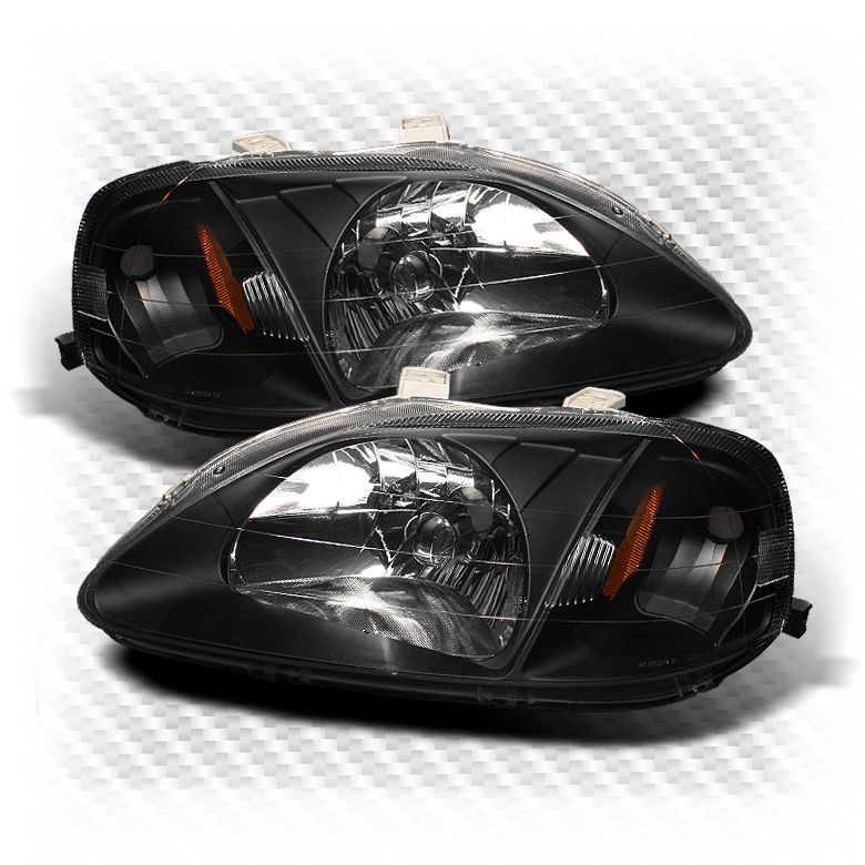For 1999-2000 Honda Civic Amber Corner Headlights Black