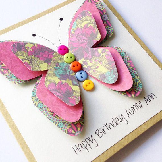 Tarjeta De Cumpleanos De Tia Mariposa 3d Card Por Lottieandlois