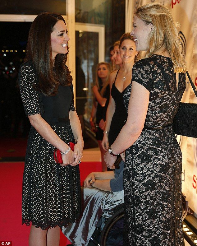 Another up-and-coming athlete, laughs as she chats to The Duchess in the entrance of the Embankment Centre