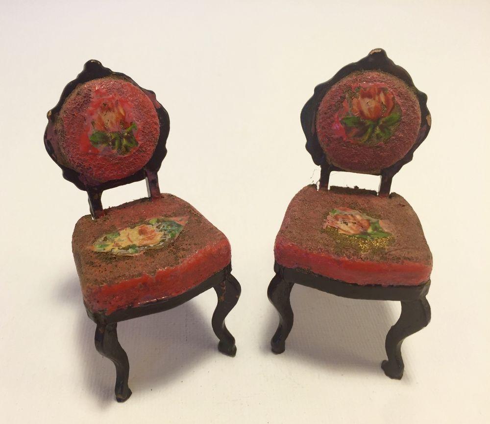 Antique French Miniature Dollhouse Pair Wood Louis