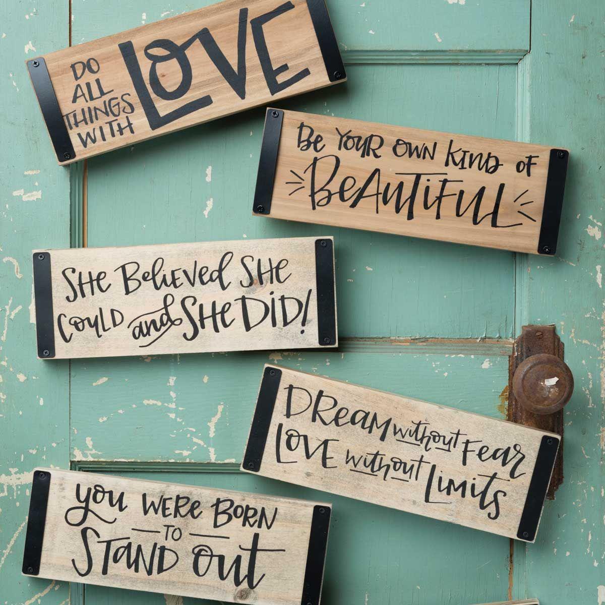 Love Sentimental Mini Metal Hanging Sign Shabby Chic
