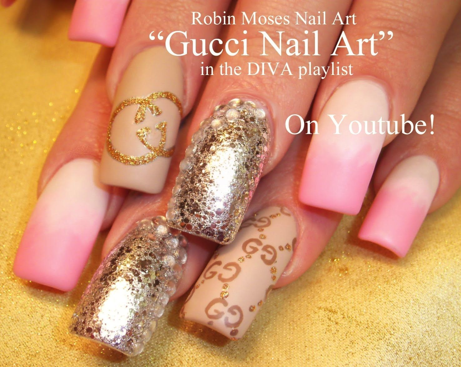 Nail Art Tutorial | Designer Nails | Gucci Logo and Pink Ombre Nail ...