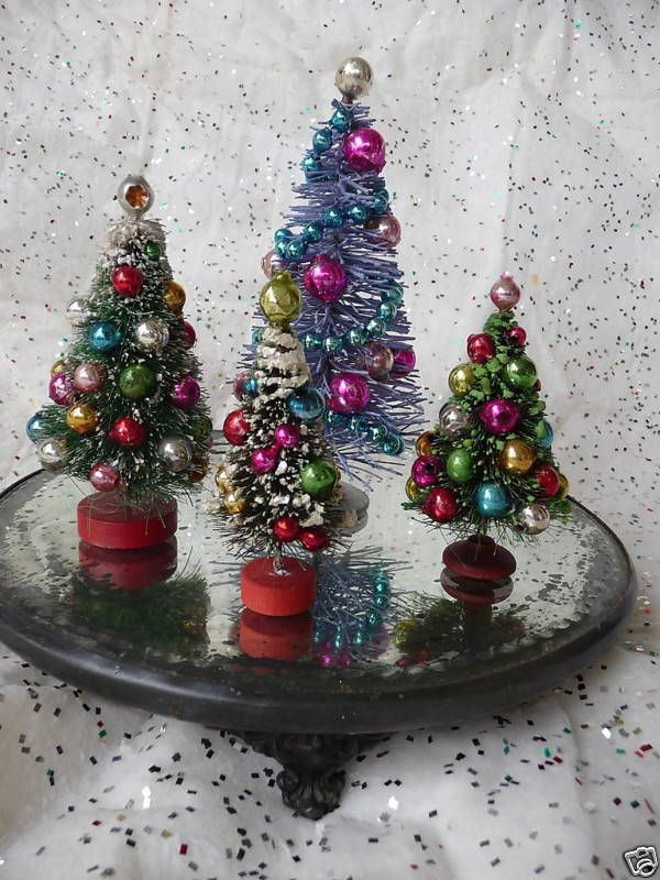 Diy Decorated Bottle Brush Trees Small Christmas Trees