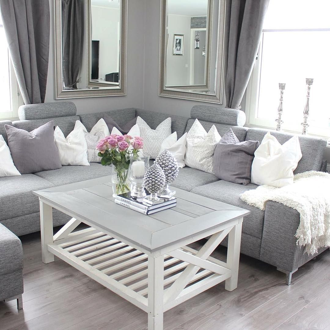 Small Cozy Elegant Chic Classy Style Apartment Couple First Home White Gray Warm Col Apartment Living Room Design Living Room Grey First Apartment Decorating