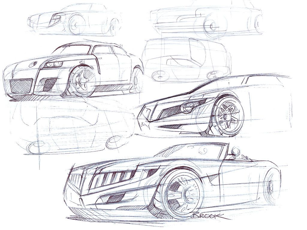 Design of car model - Automotive Industrial Product And Footwear Design Sketches By Brook Banham