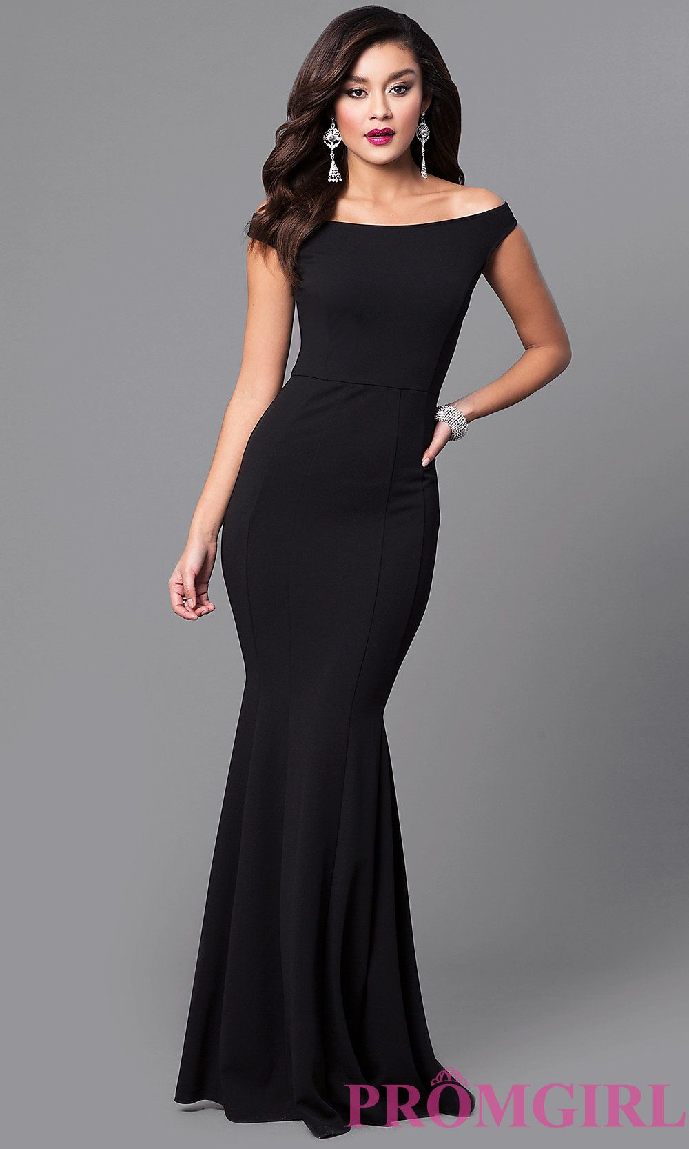 10f66afc66 Black Off-the-Shoulder Long Mermaid Prom Dress