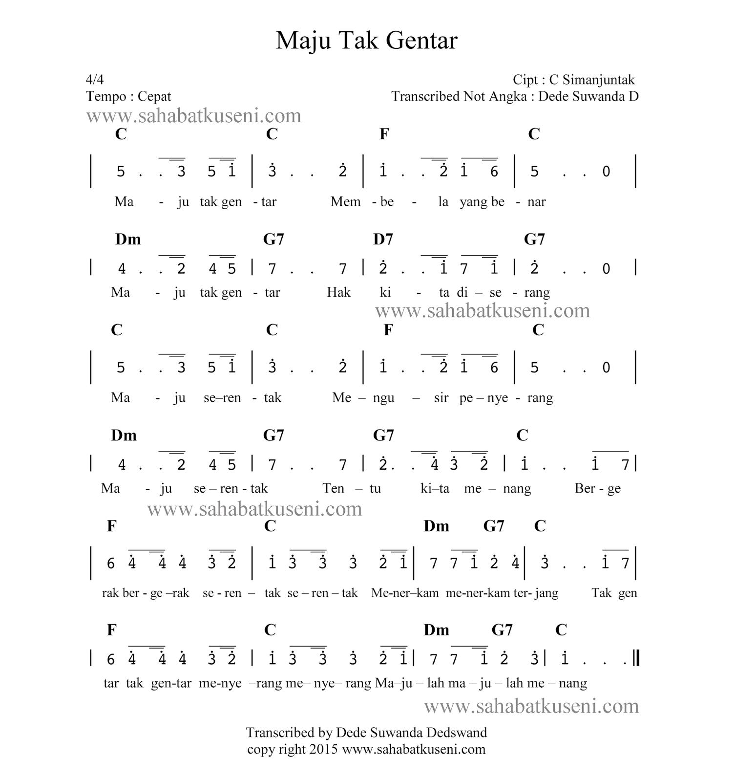 Not Angka Lagu Maju Tak Gentar C Simanjuntak Lagu Lirik Lagu Pianika