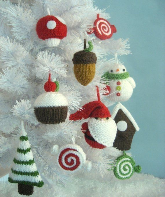 Amigurumi Knit Christmas Ornament Pattern Set Digital Download - Amigurumi Knit Christmas Ornament Pattern Set Digital Download
