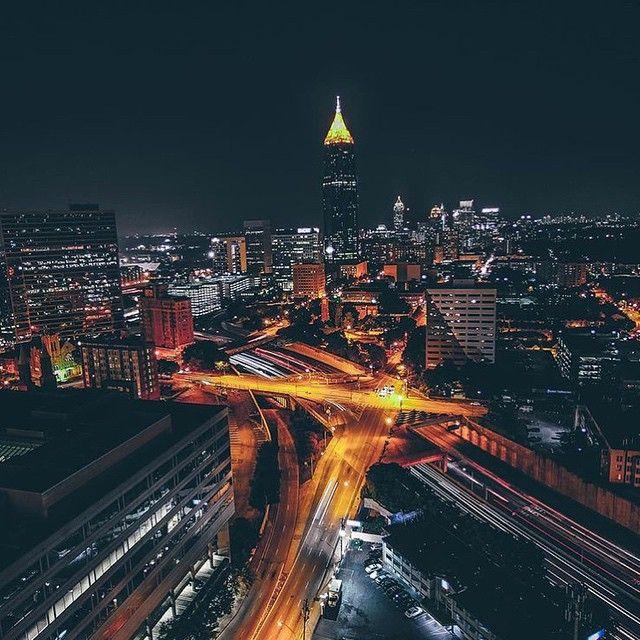 H E A R T + S O U L. Atlanta by night. Snap via @quanatl. #atlantasnaps