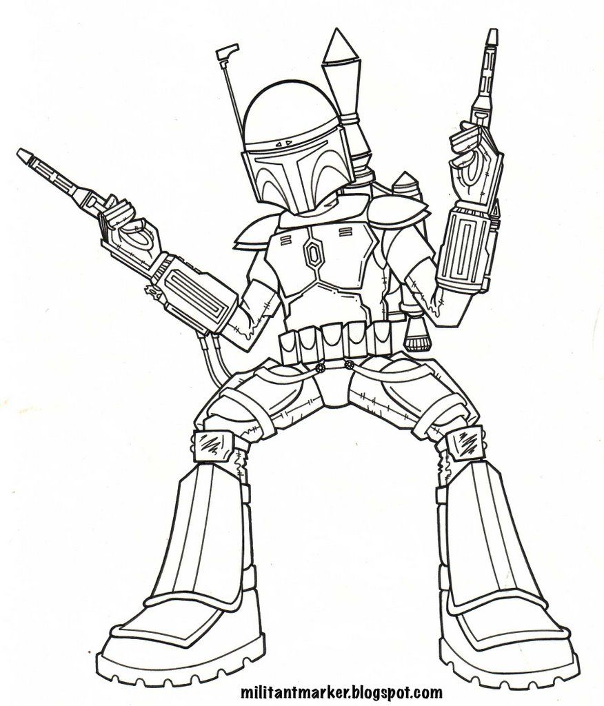 Jango Fett - Coloring Pages for Kids and for Adults | LineArt: Star ...