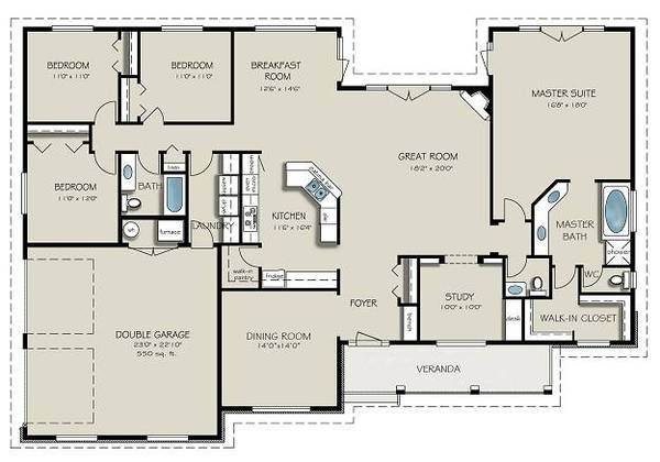 Country Style House Plan 4 Beds 3 Baths 2563 Sq Ft Plan 427 8 New House Plans Country Style House Plans Country House Plans
