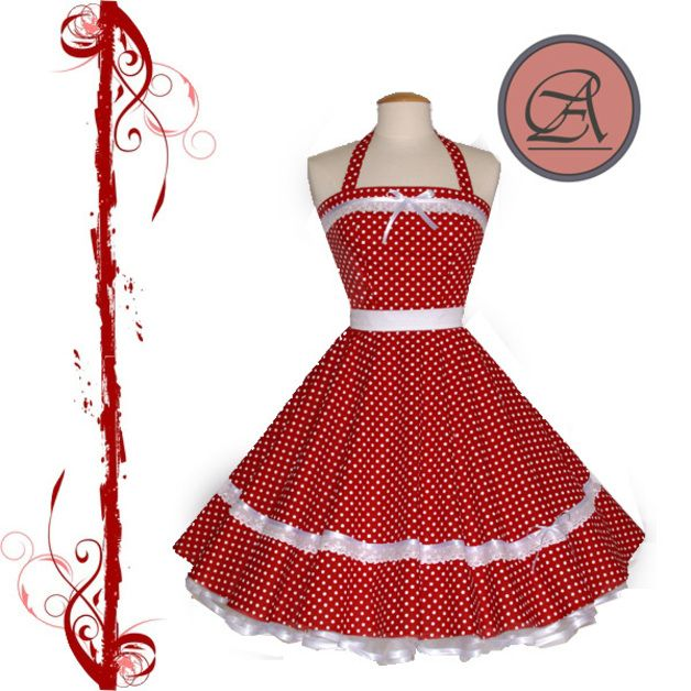 50er Petticoatkleid // 50er // weiß-rot//Tanzkleid