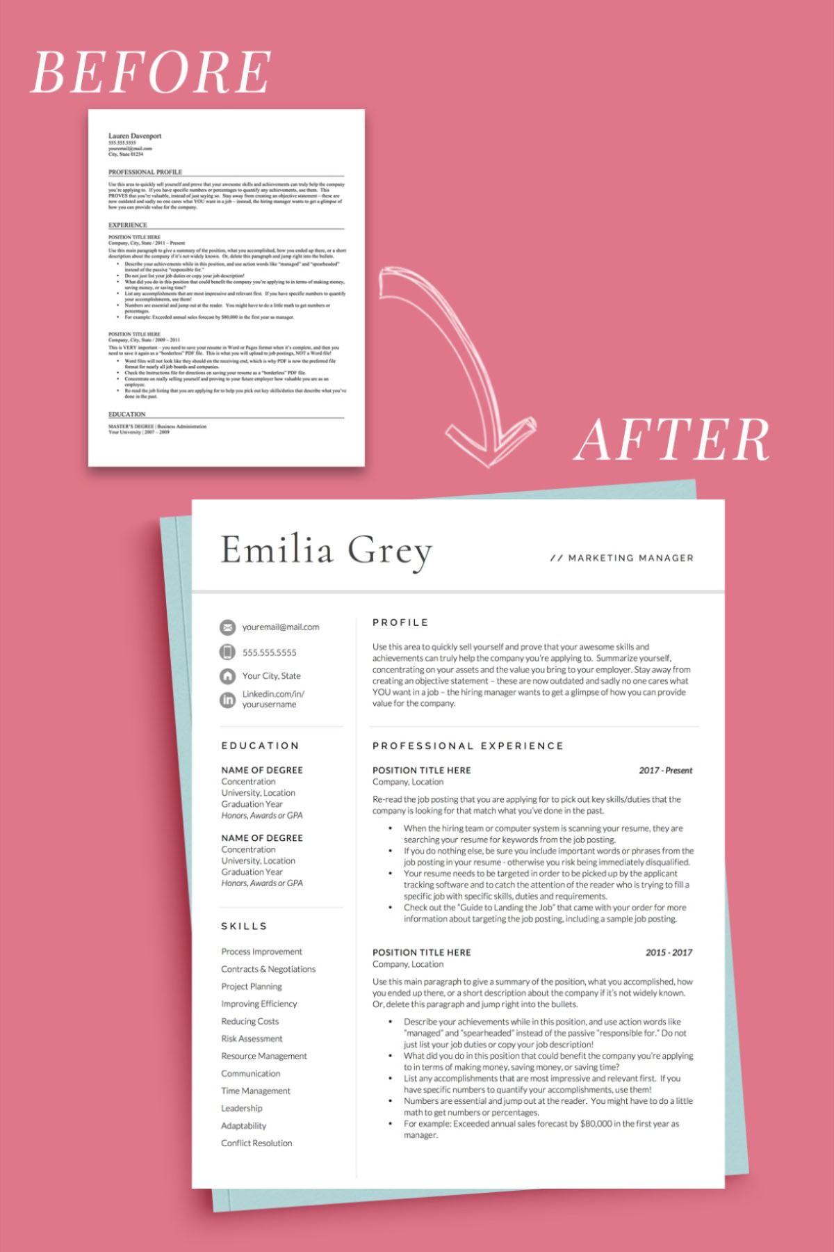 Modern Resume Template, Professional CV Template, CV