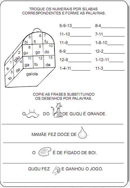 atividades para alfabetizar com fonemas g - Pesquisa Google