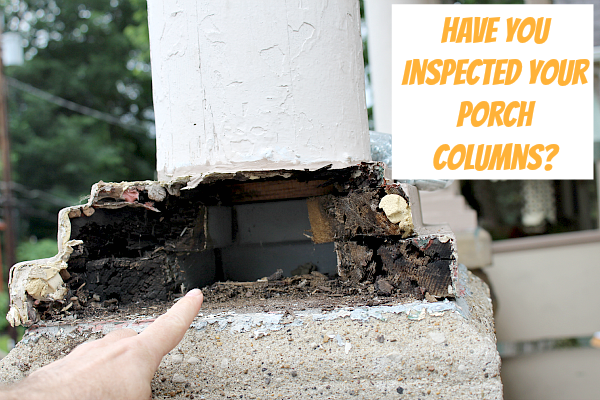 Porch Column Rot How To Inspect And Replace Rotted Bases Columns Front