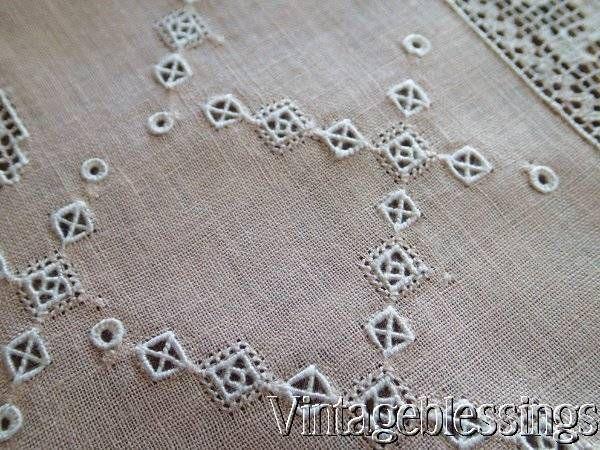 25pc Exceptional Antique Italian Trousseau Bridal Lace Linen Table Set Monogram www.Vintageblessings.com