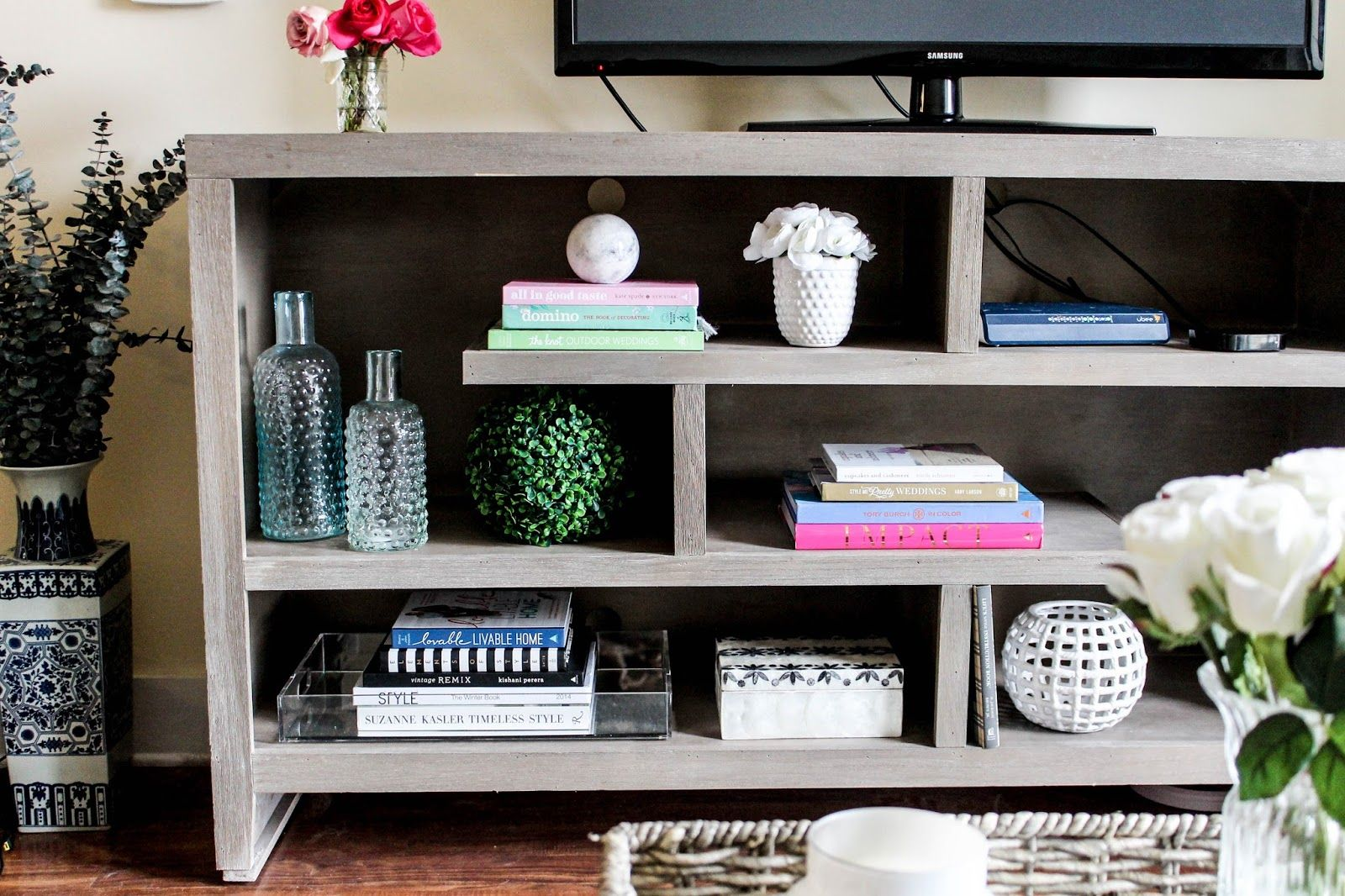 How To Style Your TV Stand or Console Table   Coffee Table Books  Vases. How To Style Your TV Stand or Console Table   Coffee Table Books