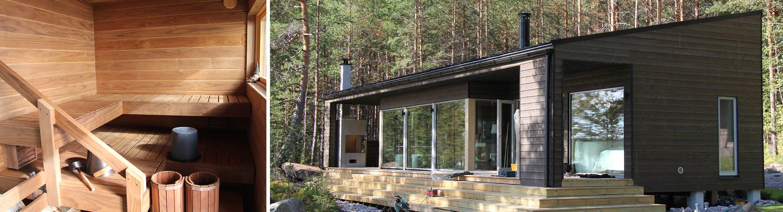 Saimaan rannalle rakennettiin vähäeleiset modernit sauna ja huvila. Katso kuvat!