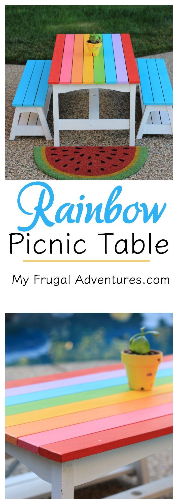 Rainbow Picnic Table For Kids Muebles Para Ni Os Pintando  # Muebles Rainbow
