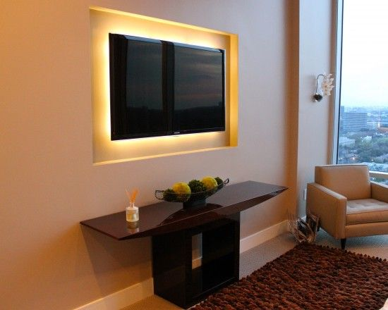 Flatscreen Television Back Lit Feature Backboard Recessed