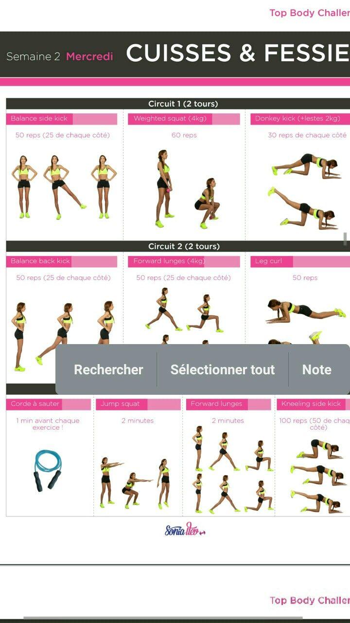 Bien connu TBC2 SEMAINE 2 MERCREDI | Top body challenge 2 | Pinterest  ZA76