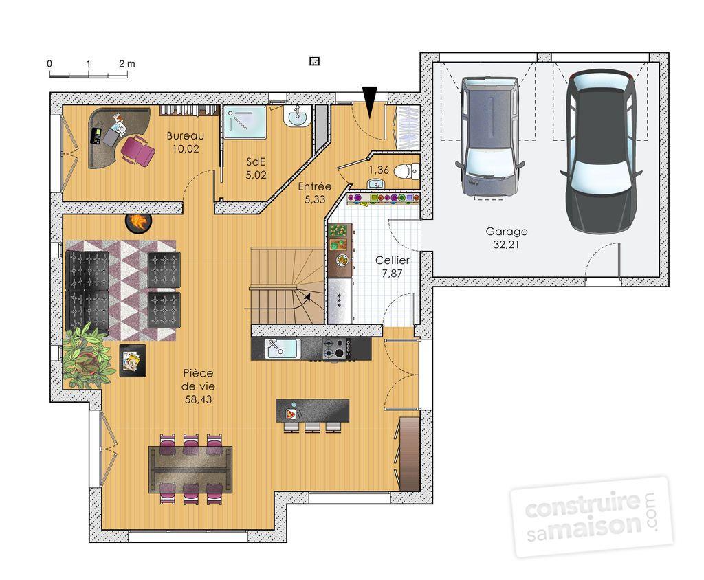 plan maison etage ossature bois