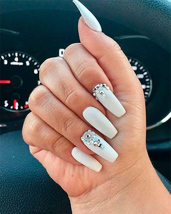 Cute Matte White Coffin Nails With Diamonds Longcoffinnails