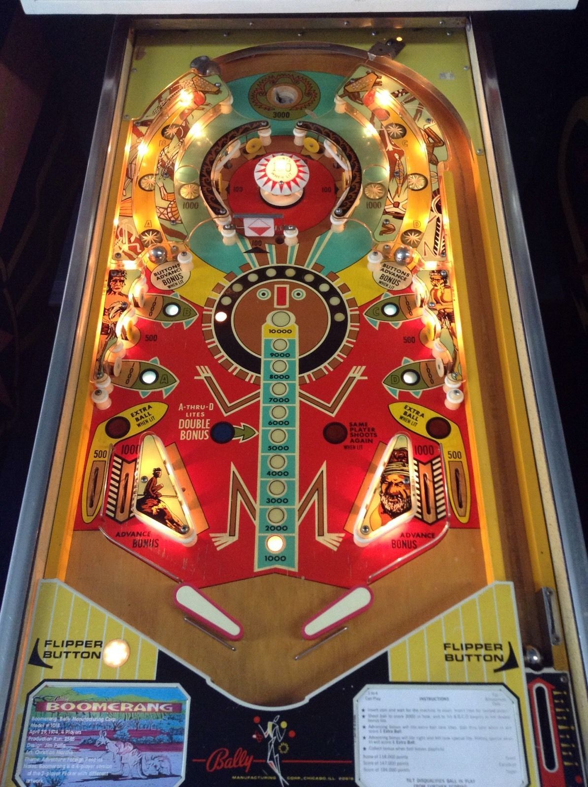Bally Boomerang Pinball Playfield 1974 Arcade Game Room Pinball Pinball Game