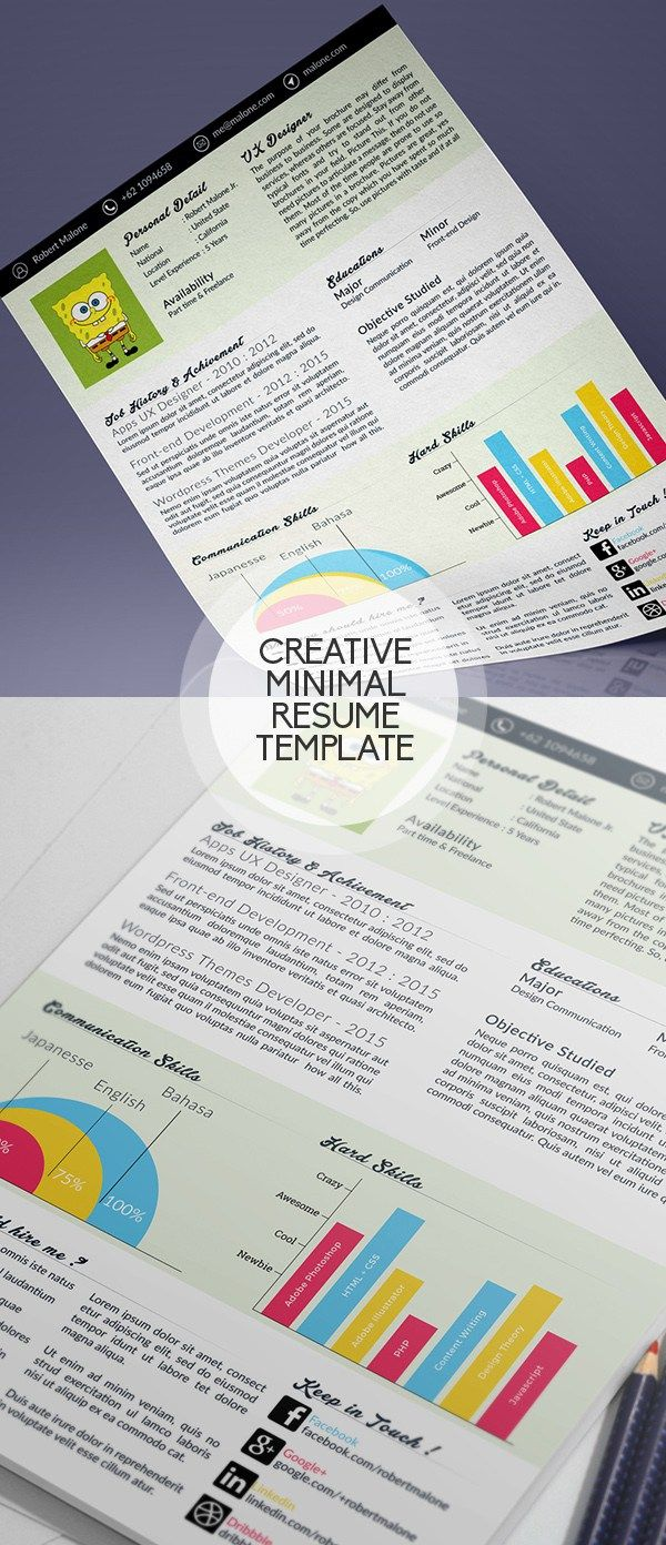 Clean / Minimal PSD Resume Template Cover letter