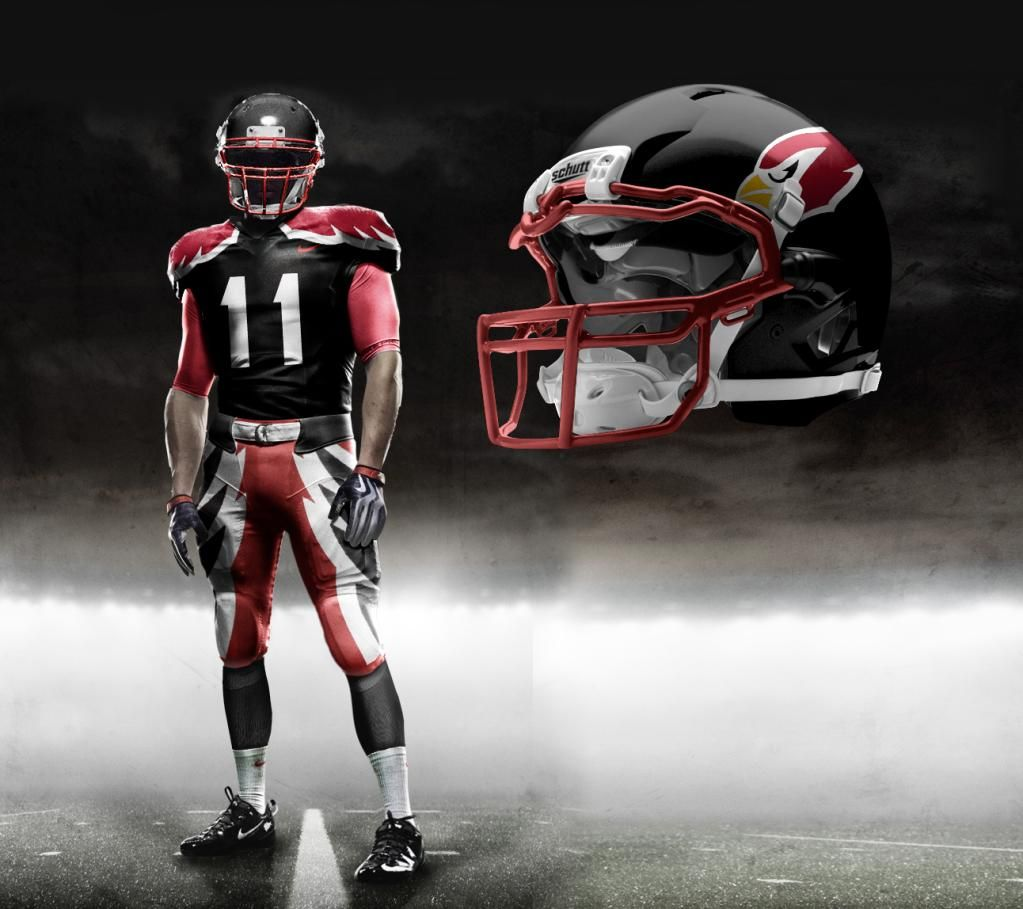The futuristic Cardinals uniforms ditch the white helmet for a black one with more black on the shirts and pants. Description from bizjournals.com. I searched for this on bing.com/images