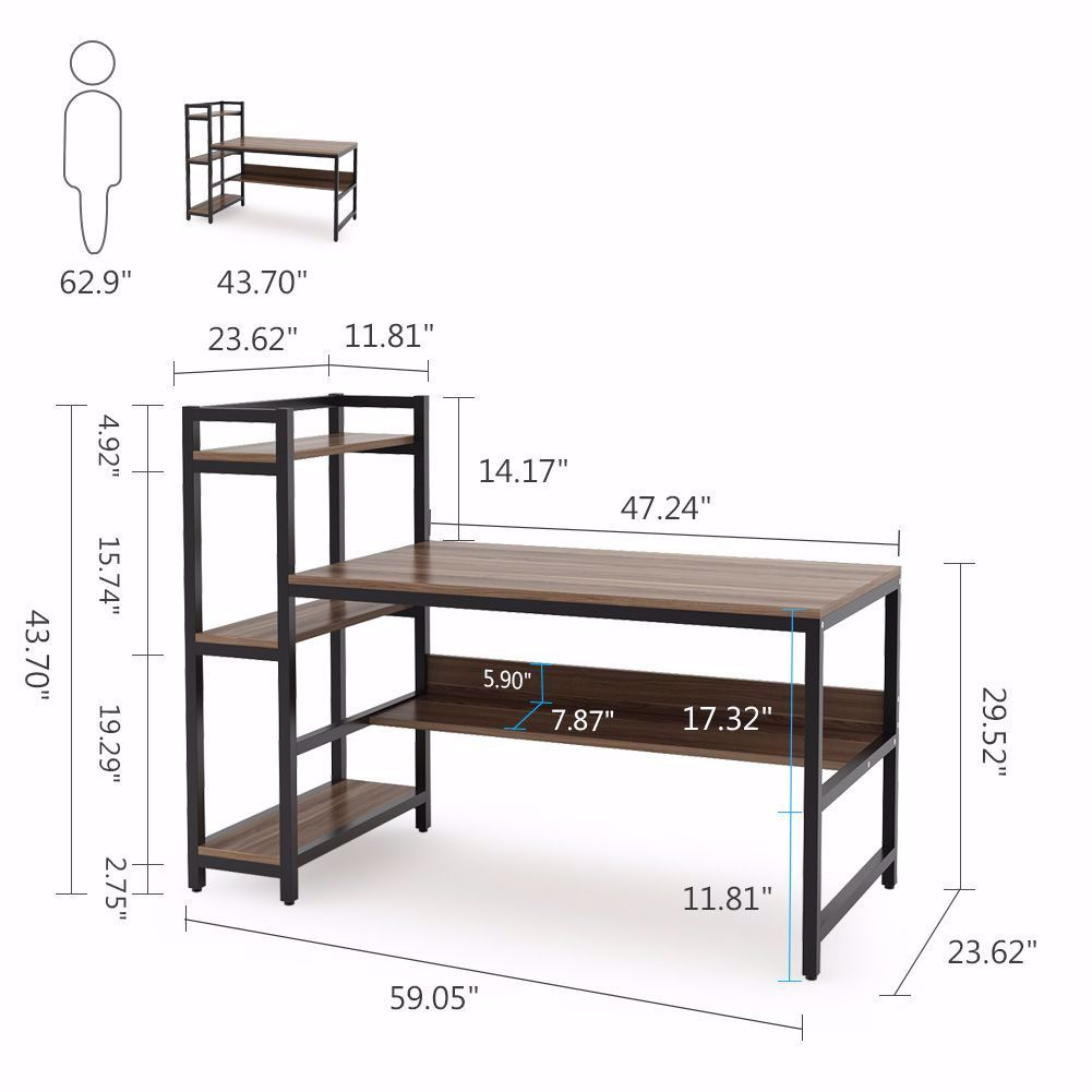 Compact Design Make This Desk Fits Nicely In A Small Room And Maximizes Your Home Office Workspace Perfectly It Is In 2020 Computer Desk Computer Table Bookshelf Desk
