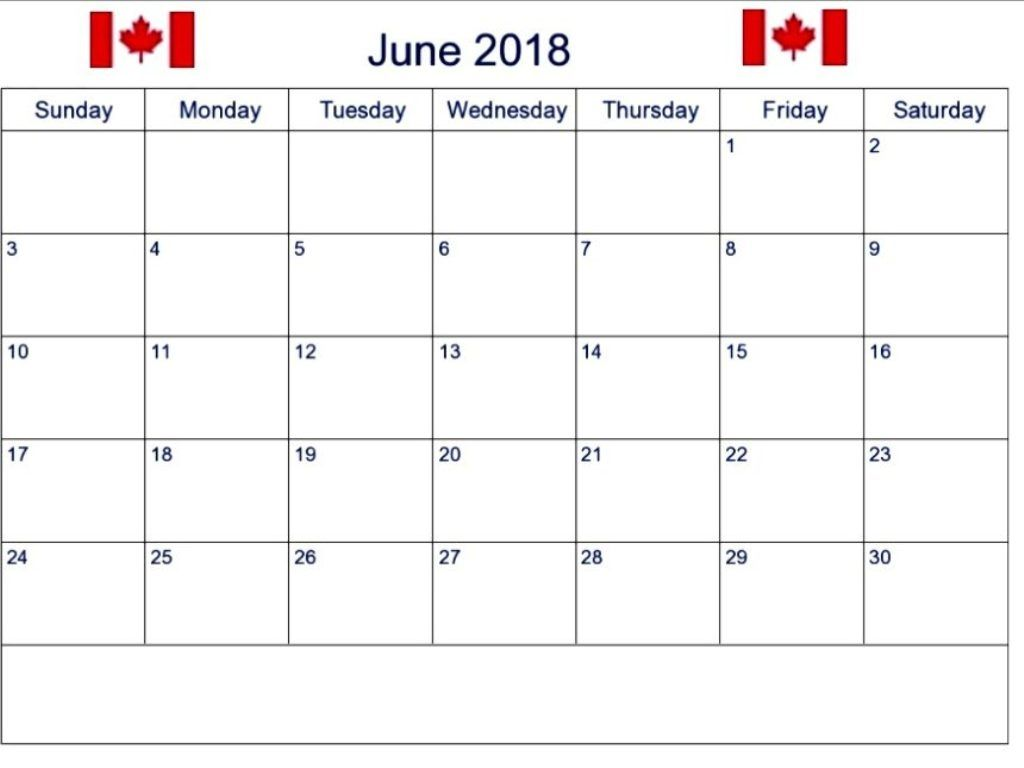 June 2018 Calendar Canada 2018 Printable Calendar Calendar