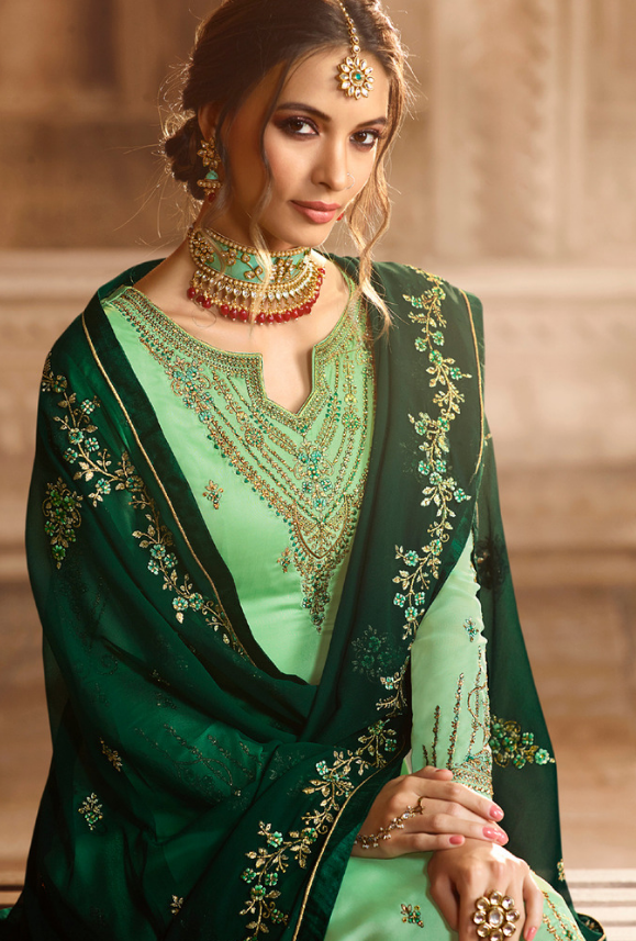4e1f6e8c51 Green Sharara Salwar Kameez in 2019 | Trendy sarees | Saree ...
