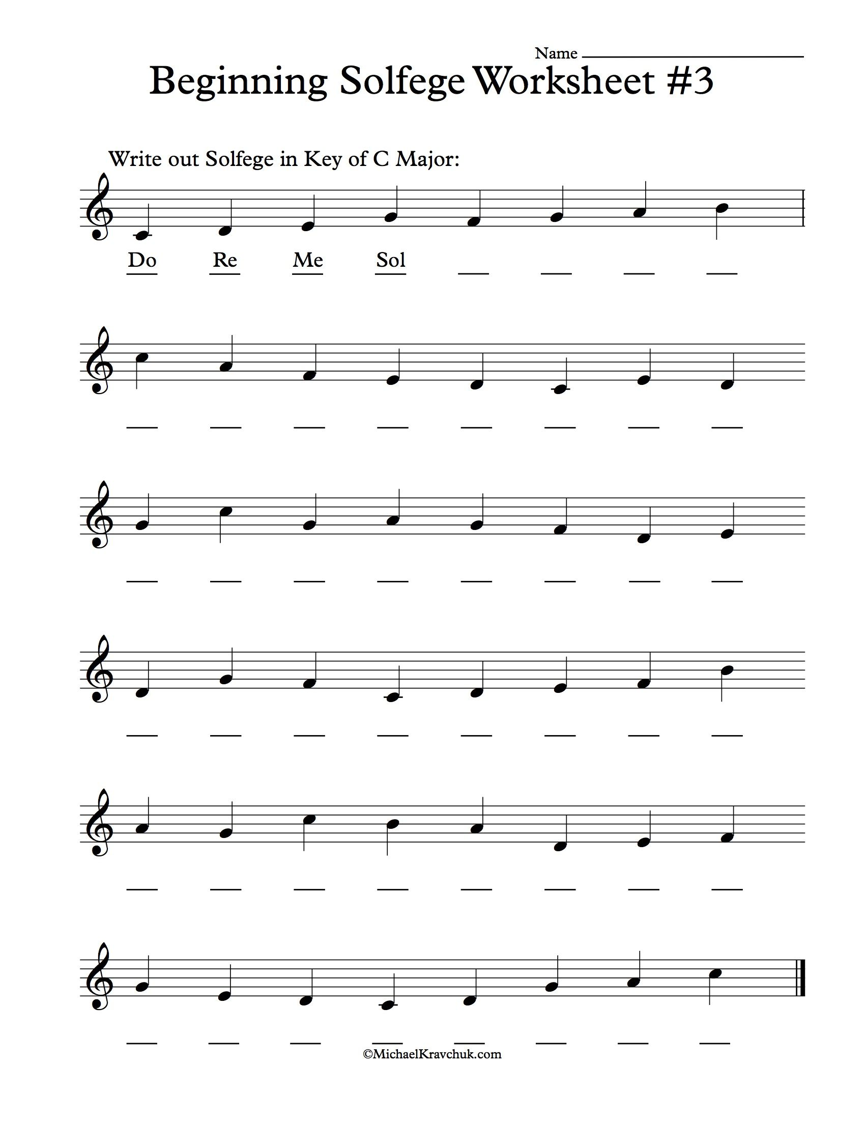 Beginning Solfege Worksheet 3 For Classroom Instructions