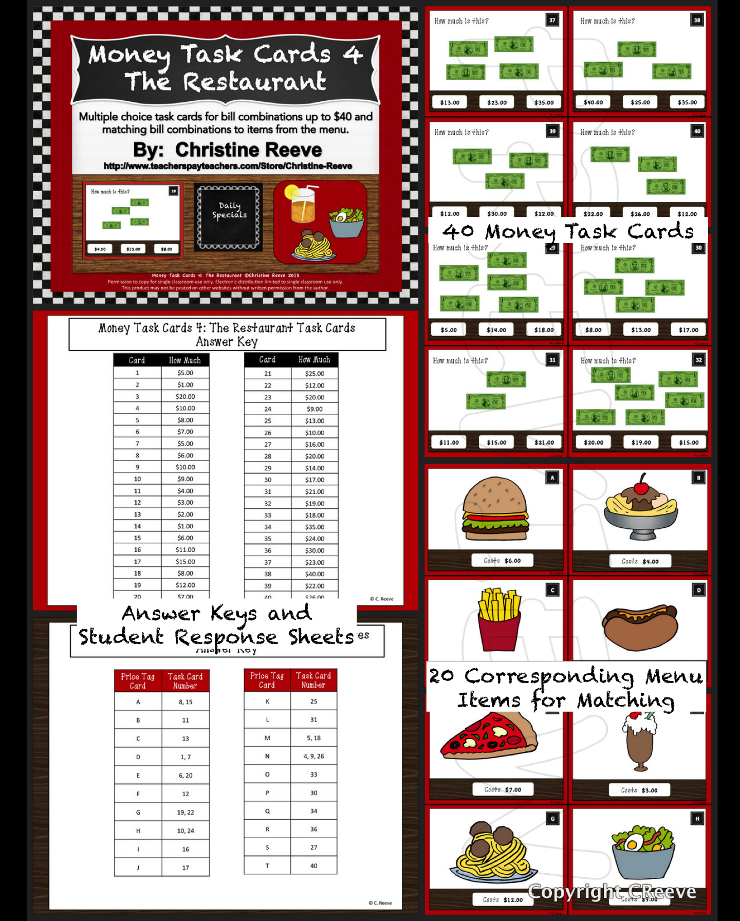 Money Task Cards 4 The Restaurant Bills Only Autism Special Ed