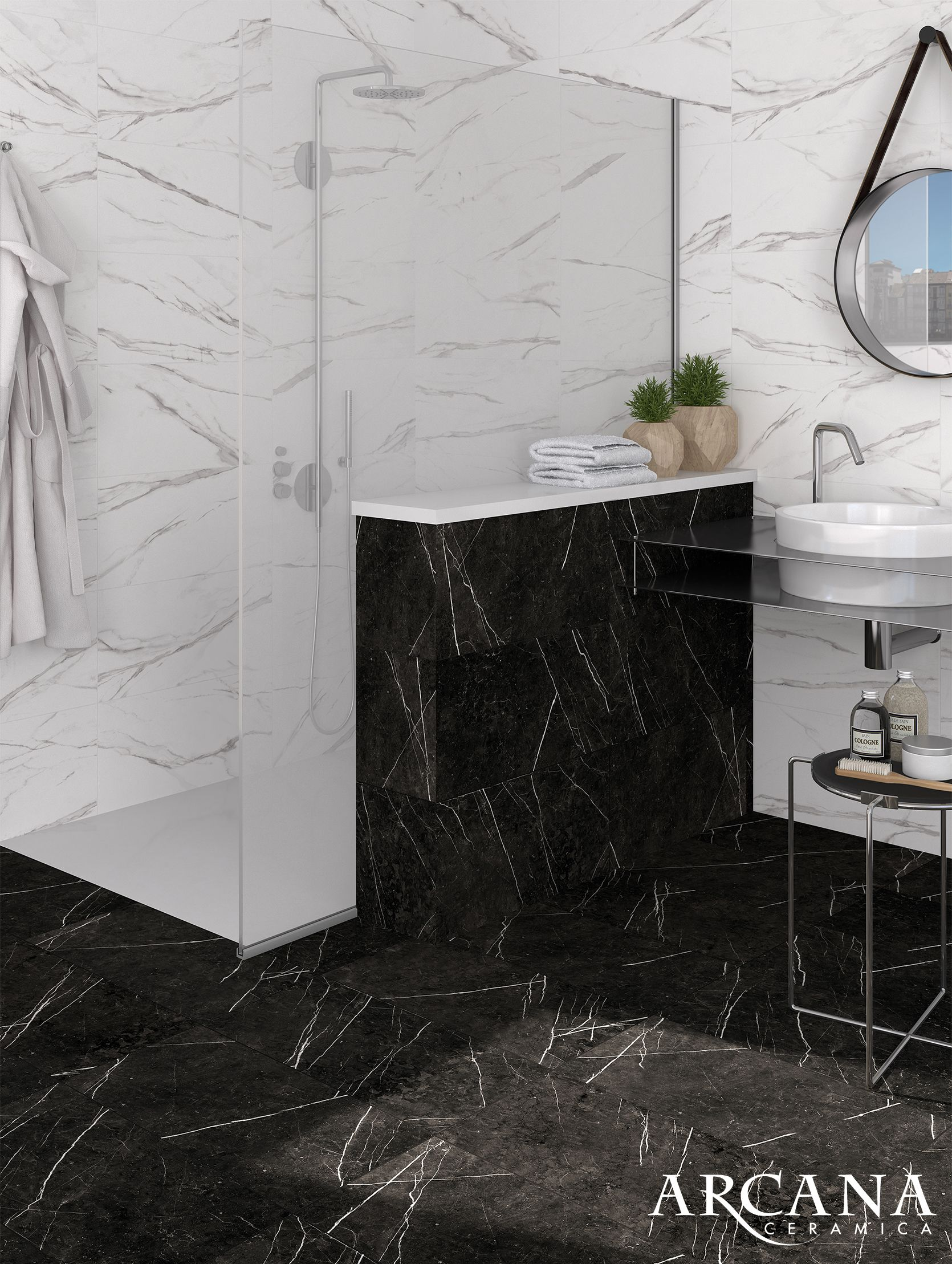 Bathroom black and white ba o marmol negro black for Marmol blanco veta negra