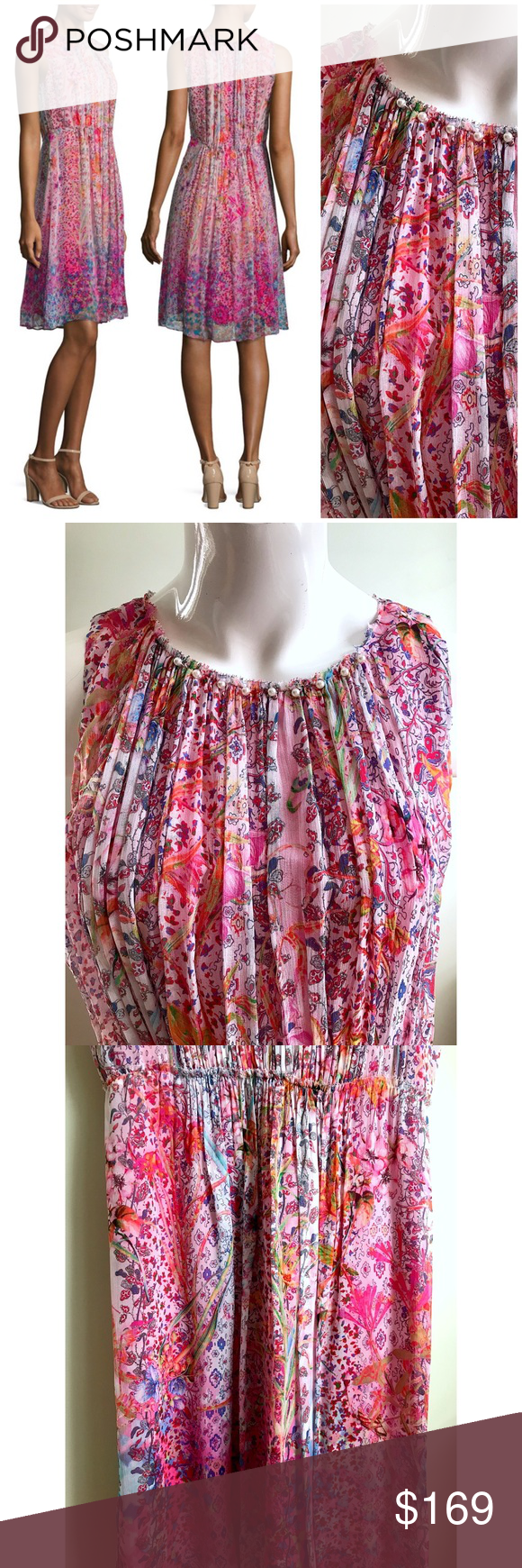 7853e42a6fc8 Elie Tahari Demetria Pleated Floral Silk Dress Elie Tahari Demetria Pleated  Floral Silk Dress Gooseberry Pink