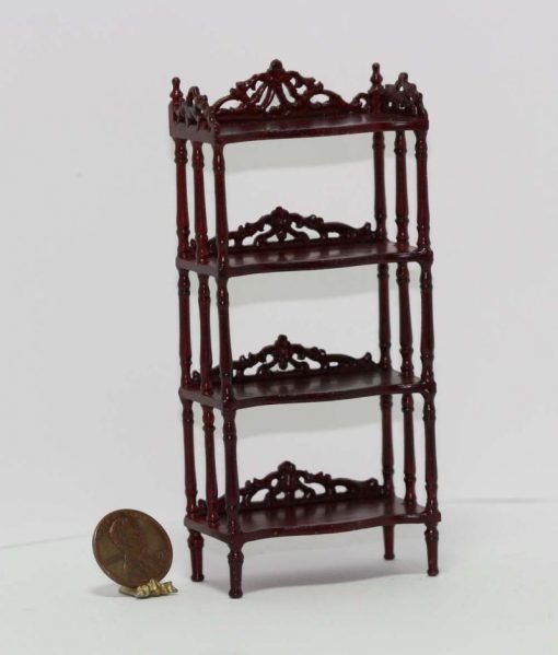 Ornate Victorian Floor Shelf in Mahogany