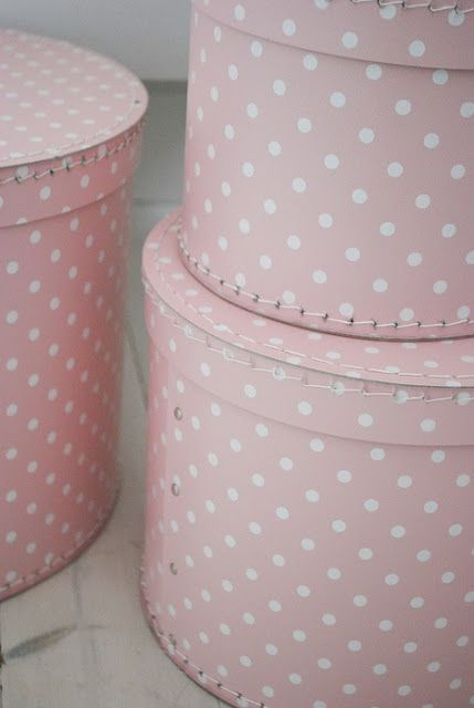 Pink polka dot hat boxes. Inspiration Lane